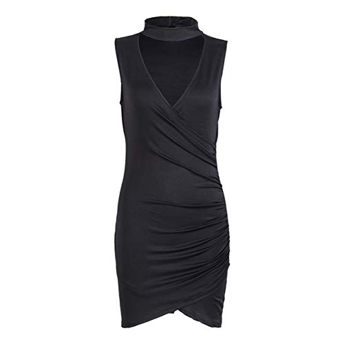 WDBXN Sommer Frauen Damen Sleeveless Verband Kurzes Minikleid Halter V-Ausschnitt Schulterfrei Solide Pencil Mini Dress,Black,XL