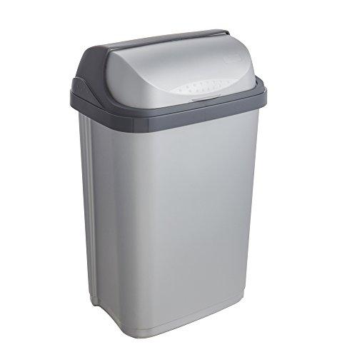keeeper Abfallbehälter mit Rolldeckel, 25 l, Rasmus, Silber