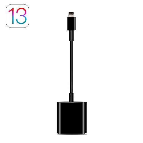 AIGUOZER SD Kartenleser Kartenlesegerät Adapter Kamera Card Reader 14MB/s~16MB/s Lightning für alle iPhone Modelle(iPhone 5-iPhone 11,Pro,Pro Max), iPad Air,Air 2,Mini 1-4, iOS 13 kompatibel Schwarz