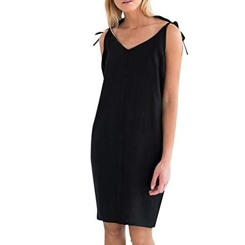 Lialbert Freizeitkleid Baumwolle Camisole-Kleid Dame SchnüRung RüCkenfrei Swing-Kleid Tunika V-Ausschnitt A-Linie Kleider Schwarz