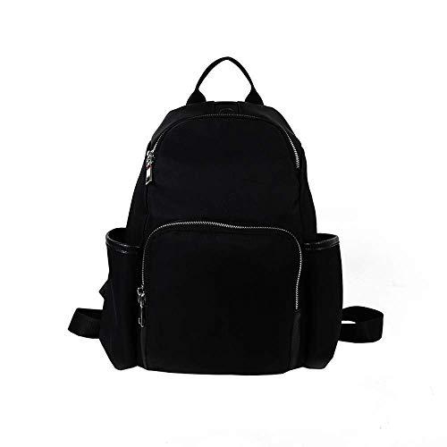 HhGold Damen Tasche Nylon Oxford Tuch Mode Damen Rucksack Reisetasche Rucksack getäfelten Innenschlitz Tasche Stickerei Tasche (Farbe : Schwarz)
