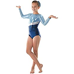 Justaucorps pour filles super brillant métallique avec bande en argent 10 ans bleu