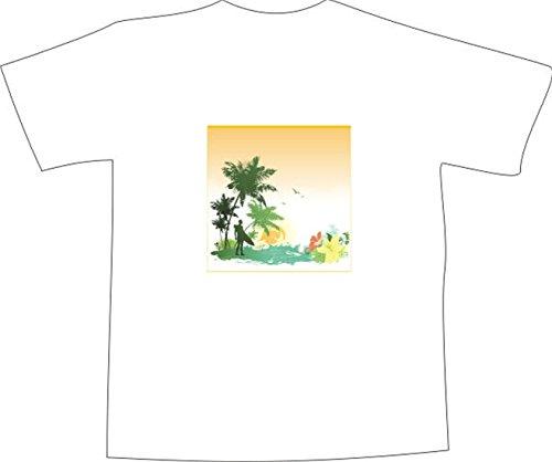 T-Shirt E527 Schönes T-Shirt mit farbigem Brustaufdruck - Logo / Grafik - abstraktes Design - Surfer unter Palmen am Strand Schwarz