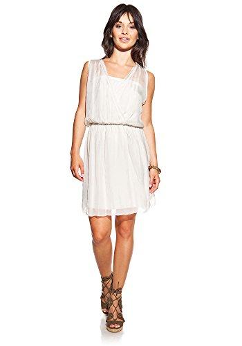Laura Moretti - Seidenkleid mit V-Ausschnitt Beige