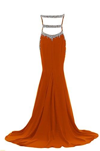 Gorgeous Bride Elegant Traegerlos Mermaid Lang Chiffon Abendkleid Abendmode Ballkleid Orange