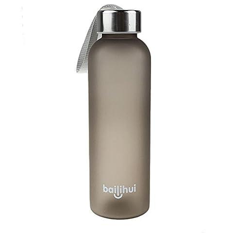 Yumimi88 600ML Wasser Portables Getränk Glas Saft Sport Reisen Flasche (Schwarz)