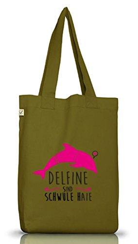 Shirtstreet24, Delfine sind schwule Haie, Jutebeutel Stoff Tasche Earth Positive (ONE SIZE) Leaf Green