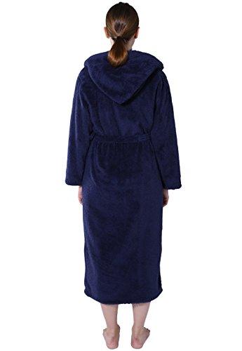 Vislivin Womens long Plush flannel robe hooded long bathrobe Dark Blue