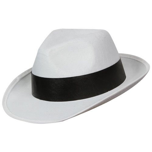 Gangster Kostüm Und White Black - Felt Gangster Hat - White with black band - Adult Fancy Dress Accessory