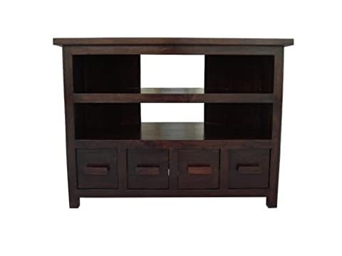 Homescapes Tall Corner TV Unit Stand Walnut Shade 100% Mango
