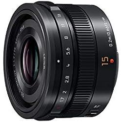 Panasonic LEICA Objectif à focale fixe pour capteur micro 4/3 15mm F1.7 H-X015E-K (Grand angle 15mm, Très Grande ouverture F1.7, Ultra compact, equiv. 35mm : 30mm) Noir - Version Française