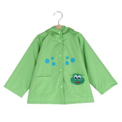 Hannea Child Girl Cute Cartoon Animal Dot Print Jacket Hooded Long Sleeve Snap Fastener Pocket Design Raincoat