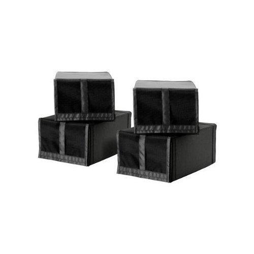 2 XIKEA 4-er Set Schuhboxen \'Skubb\' vier Schuhkisten Regaleinsätze - schwarz