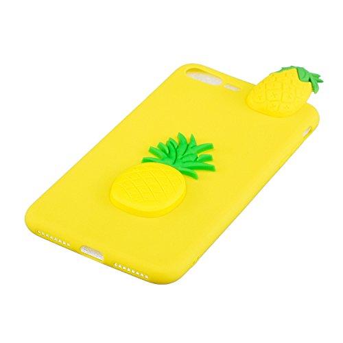 Cover iphone 7 plus Custodia iphone 8 plus Silicone 3D Cartoon Leton Morbido TPU Gel Case per Apple iphone 7 plus / 8 (5.5 pollici) Ultra Sottile Flessibile Satinato Gomma Caso Anti Graffio Antiurto P Ananas Giallo