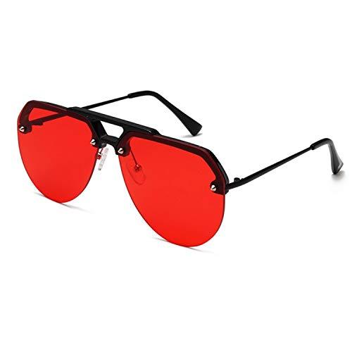 FIRM-CASE Mode Semi Randlos Pilot Red-Sonnenbrille-Frauen übergroße Sonnenbrillen Vintage Retro Sunglass, 5