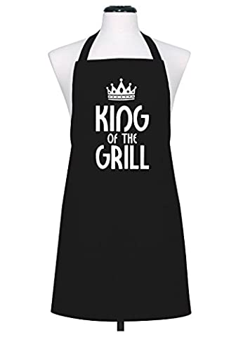 'The King of the Grill' dad's men's father's chefs apron bib (Black)