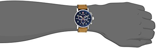 Wenger Commando Chrono Men's Quartz Watch with Blue Dial Chronograph Display and Brown Leather Strap 011243101