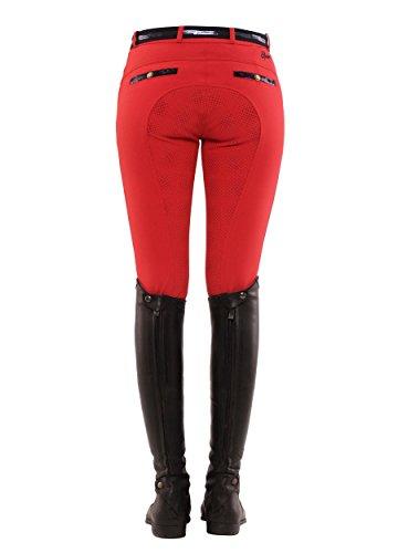SPOOKS Reithose für Damen Mädchen Kinder, Voll-Grip-Besatz Reithosen Leggings Turnierreithose - Ricarda Full Grip Sequin - Rot XXS