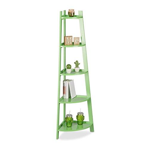 Relaxdays Eckregal rund, Standregal Ecke, Regal Kinderzimmer, Bücherregal klein, 5 Fächer, HxBxT: 144 x 53 x 37 cm, grün (5-regal Bücherregal Mdf)