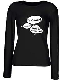 T-Shirt Manica Lunga Donna Nera T0499 Ho l ansia Fun Cool Geek 1494500141ae