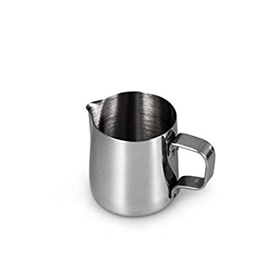Milk jug made of stainless steel for frothing, milk jug 150 ml, milk froth for coffee, milk froth, Barista frothing jug, Cafe, colour: glossy silver, brand: YOUZiNGS