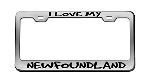 I Love My Newfoundland Animal Chrome License Plate...