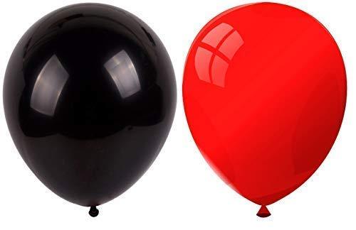 INERRA Globos - Paquete de 50 Mezclado (25 X Rojo & 25 X Negro) Látex 12' para Globos de Helio o Aire