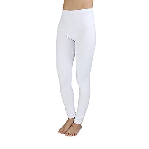 Mädchen Leggings Lang Baumwolle Blickdicht Kinderhosen Leggins Kinder Stoffhose Schwarz Weiß Blau, Farbe: Weiß, Größe:
