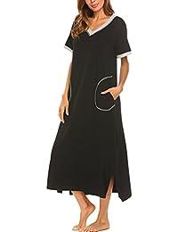 06388a3624 Sleepwear Women s Nightshirt Short Sleeve Nightgown with Pocket Sleep Dress  Full Length