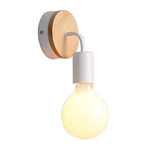 Injuicy Lighting Elegante Soggiorno Camera da Letto Ferro Battuto Lampada da Parete del Corridoio Semplice Lampada da Comodino Legno Massello Lampade da Parete di Stile Americano Paese (Bianca)