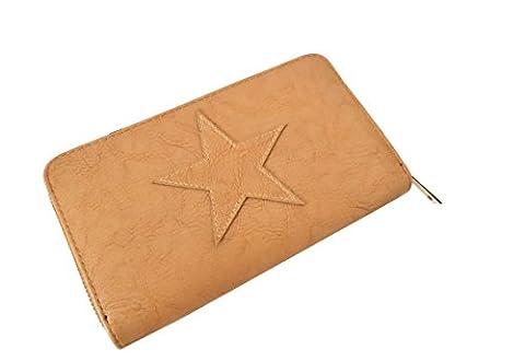 Damen Geldbörse Geldbeutel Portemonnaie Etui Clutch Stern star cognac braun (8051)