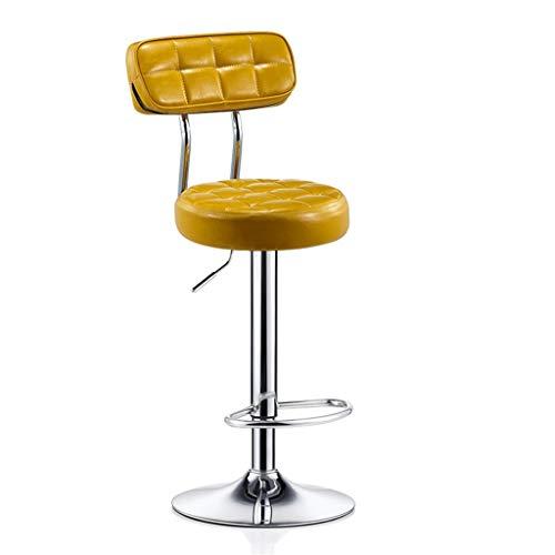 Moderner Barhocker-Stuhl-hoher Schemel Barhocker Stuhl Fußstütze Runde PU Sitzlehne Verstellbare Swivel Gas Lift, Höhe 60-80cm für Küche Frühstück Barhocker Verchromte Platte Basis max. Laden Sie 150