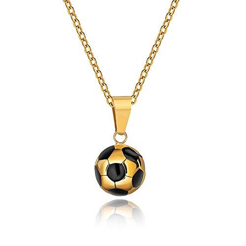 Wikimiu Kette Herren Damen, Halskette mit Fußball Anhänger, Personalisierter Modeschmuck für Männer zum Geburtstag Valentinstag (Gold)