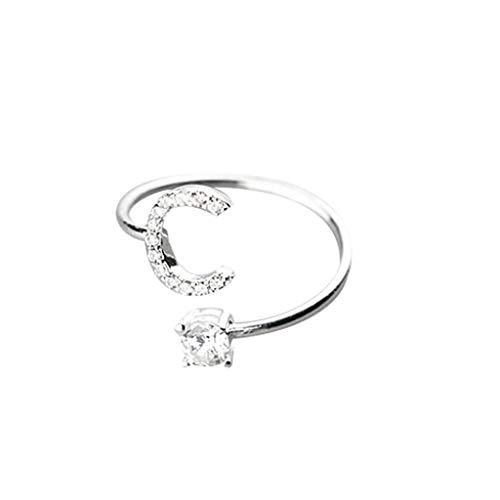 Einfach Leopard Kostüm - UINGKID Schmuck Damen Ring Modische und einfache Öffnung 26 Buchstaben mit Diamant Ring Damen Schmuck