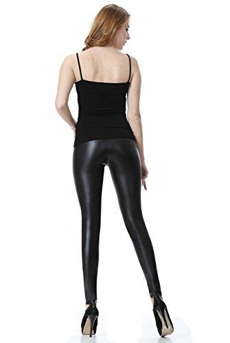 c724e46ad263 Everellus Donna Pu Leggings Pelle Elastico Skinny Pantaloni Nero Medio
