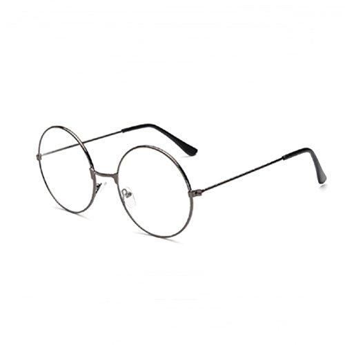 LUOEM Vintage Runde Brille Klare Linse Brille ohne Stärke Unisex (Gun-Farbe)