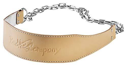 Bad Company Dip Gürtel aus Leder I Gewichtsgürtel mit Stahlkette und Karabinerhaken für das Oberkörpertraining I Gewichtsbelastung bis zu 100 kg I Braun