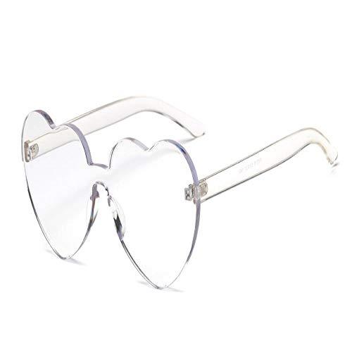 JYTDSA Art- und Weiseliebes-Herz-randlose Sonnenbrille-Frauen-Sonnenbrille Eyewear-Süßigkeit-Farbe UV400 (Süßigkeiten Geformte Herz)