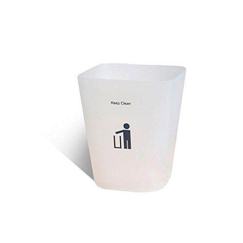 Küche Mülleimer Transparent Matte Square Haushalt Ohne Abdeckung Wohnzimmer Schlafzimmer Badezimmer Büro Kreative Papierkorb (Color : Clear, Size : 6.4L) ()