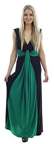 Chocolate Pickle ® Femmes Twist Knot Groupe grecque Boob longue Maxi robe de soirée Black-Green