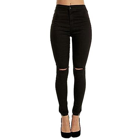 Jean Troue Femme Pantalon Dechiré Troué Talle Haute Stretch Collant Skinny Push-up Fesse Legging Jegging(L, Noir)