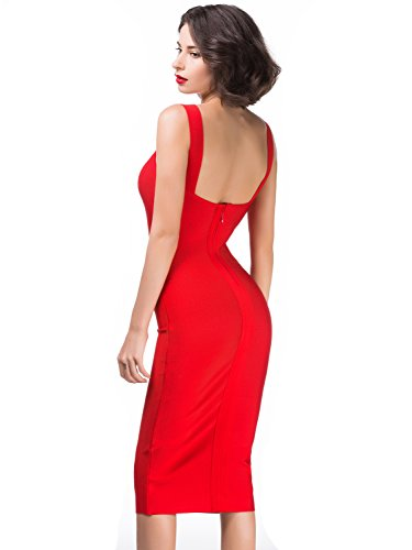 Alice & Elmer Donna Rayon Strap Knee Length Bodycon Party Vestiti Cocktail Bandage Bendare Club Dress Vestito Rosso