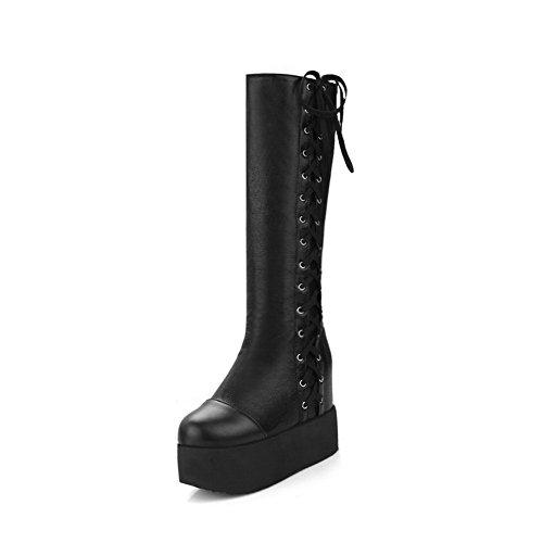 AllhqFashion Damen Rein Hoher Absatz Rund Zehe Blend-Materialien Schnüren Stiefel Schwarz
