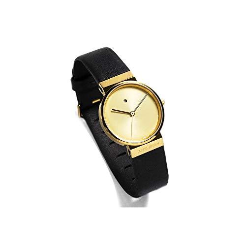 Jacob Jensen New Dimension 845 - Reloj con correa de piel para hombre, color Dorado, talla única