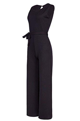 Eleganter Laeticia Dreams Damen Overall Jumpsuit Einteiler S M L XL XXL, Farbe:Schwarz;Größe:44 (Kurze High-cut-für Die Frau)