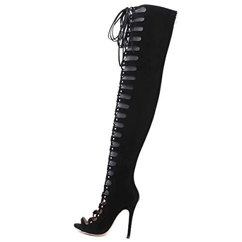 Kurze Ferse Kleid Schuhe (Damen-Sandalen, 2019 Europameister und amerikanischer Stil mit Peeling feine High Heel Elegante Damen über den Kniescheiben)