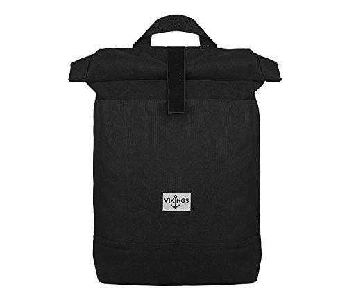 Rucksack Backpack Daypack Roll Top Überschlag Rollover Nylon Kuriertasche (Schwarz) (Amazon Top-seller)