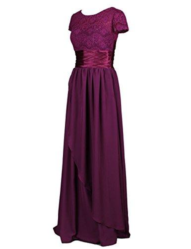 Dresstells, Robe de soirée Robe de cérémonie Robe de gala mousseline dentelle ceinture en satin col rond manches courtes Menthe