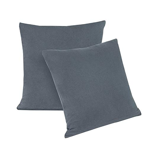 Lot de 2 taies d'oreiller avec fermeture éclair en jersey 100% coton série dans 12 couleurs modernes et 4 tailles, Tissu, Gris anthracite, 40 x 40 cm