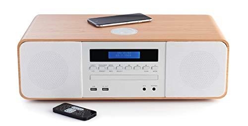Thomson mic201ibt-Microchaîne (Bluetooth, avec lecteur de CD, Radio, MP3, USB, chargeur à induction) Bois et blanc